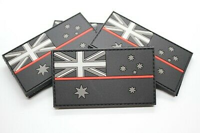 PVC Thin Red Line / Fire Brigade Australia Flag Patch - Hook & Loop