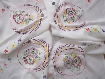 VINTAGE HAND EMBROIDERED RAISED FLORAL FLOWERS TABLECLOTH 120cm x 120cm