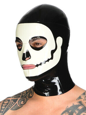 Latex Catsuit Rubber Gummi Unique Hoods Halloween Mask Skull Look L Size Only