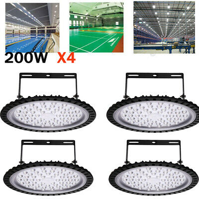 4X UFO LED High Bay 200W 6000K Warehouse Factory Garage Workshop Gym Lighting