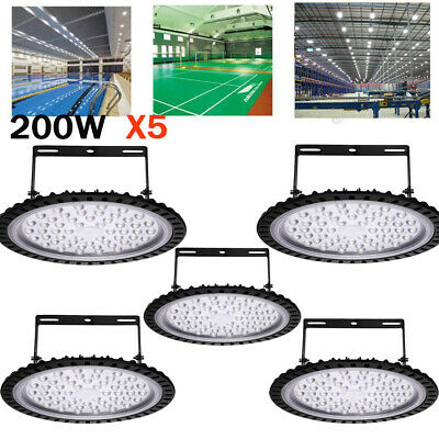 5X UFO LED High Bay 200W 6000K Warehouse Factory Garage Workshop Gym Lighting