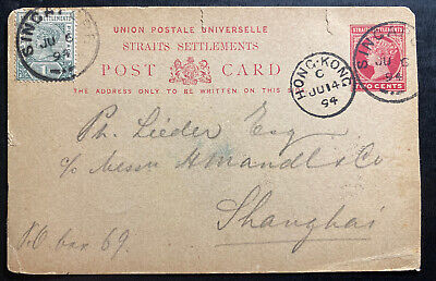 1894 Singapore Strait Settlements Stationery Postcard Cover To Shanghai China