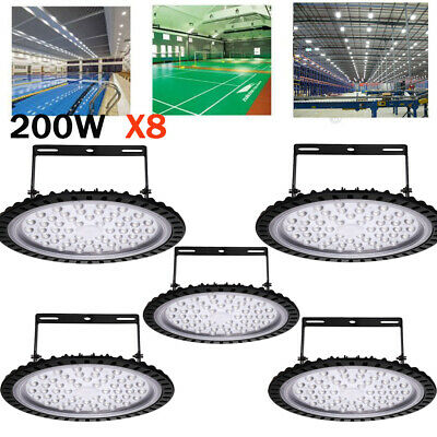 8X UFO LED High Bay 200W 6000K Warehouse Factory Garage Workshop Gym Lighting