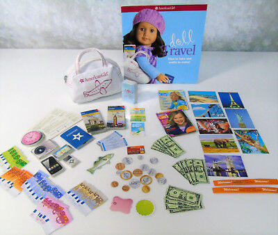American Girl Doll TRAVEL ACCESSORIES Duffle Bag Cards Plane Tickets Book Maps