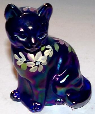 Fenton Glass Sitting Carnival Iridescent CAT FIGURINE Hand Painted B Fluharty