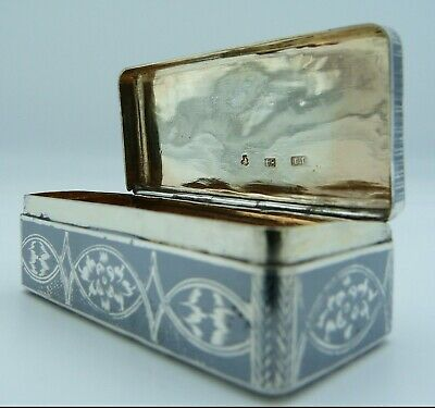 1850's Antique Solid Silver & Niello Enamel Imperial Russian Snuff Box