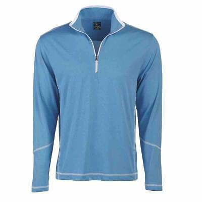 Page & Tuttle Coverstitch Heather Mock Neck  Athletic Golf  Outerwear Blue Mens