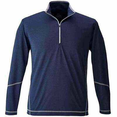 Page & Tuttle Coverstitch Heather Mock Neck  Athletic Golf  Outerwear Navy Mens