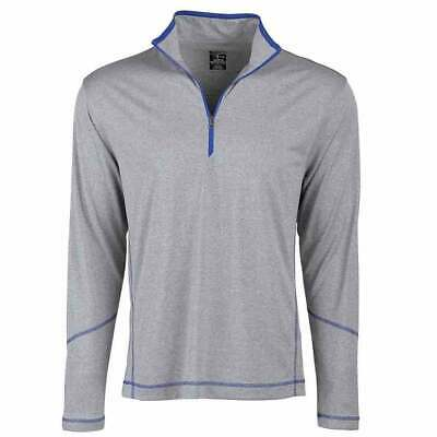 Page & Tuttle Coverstitch Heather Mock Neck  Athletic Golf  Outerwear Grey Mens
