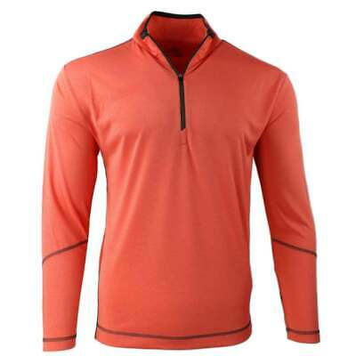 Page & Tuttle Coverstitch Heather Mock Neck  Athletic Golf  Outerwear Orange