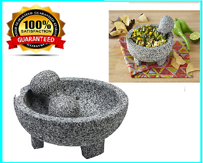 Durable Granite Stone Seasonings Pastes Pestos and Guacamole YORKING Large Pestle and Mortar Set Spice /& Herb Crusher for Spices