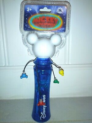 New Authentic Disney Parks Mickey Mouse Light Up Glow Wand Spinner New