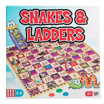 M.Y. Traditional Full Size Snakes and Ladders Family Board Game Kids Classic Toy
