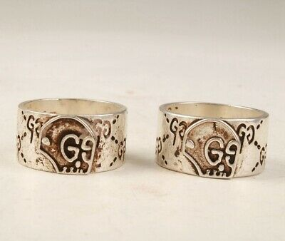 2 Retro China Tibetan Silver Handmade Rings Exclusive Old Private Collection