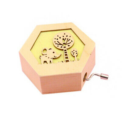 Music Box Kids Carved Birthday Cute Animal Wooden Antique Hand Crank Decorations