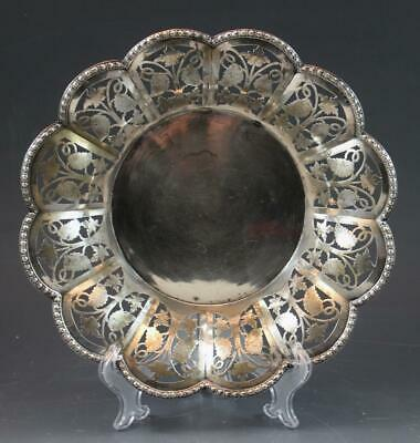 C1920s Austrian 800 Silver Reticulated Basket Console Dish w/ Grapes & Leaves