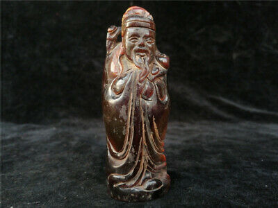"3.94"" Exquisite Chinese Ox horn Handmade carving Li Bai statue"