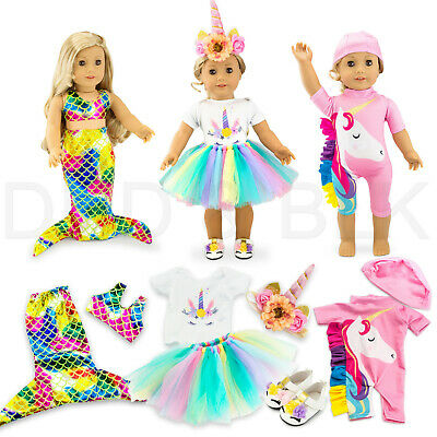 "For American Girl 18"" inch Dolls Clothes Outfit Mermaid Unicorn Tutu Dress Swim"