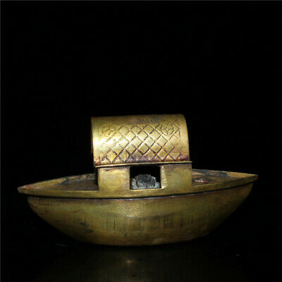 """4.33""""Exquisite Chinese pure copper Handmade boat statue"""