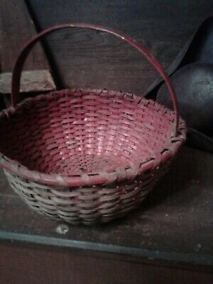 Best Early Antique Primitive Old RED Paint Large Basket AAFA