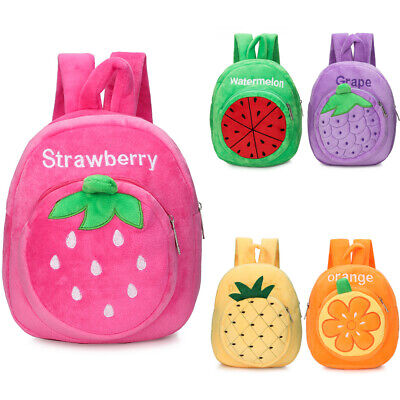 Kids Baby Toddle Girls Cute Cartoon Strawberry Plush Toys Kindergarten Backpack