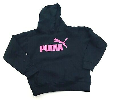 Puma Girls Pink Glitter Spell Out Hoodie Size XS Black NEW