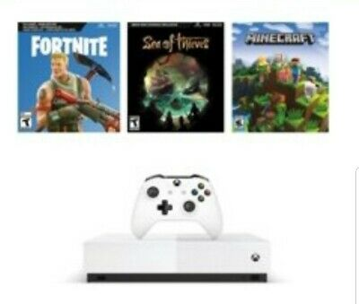Xbox One S 1TB All-Digital Edition Console Bundle - 3 GAMES INCLUDED Fortnite +