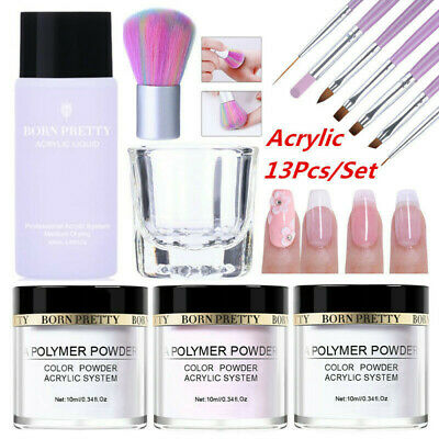 13Pcs/Set BORN PRETTY Nail Art Acrylic Powder Liquid Clear Pink White Brush Kit