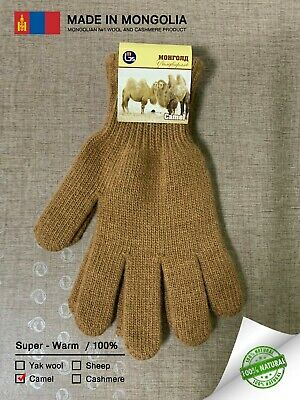Made in Mongolia Camel Wool Gloves Unisex Thick Warm Comfortable