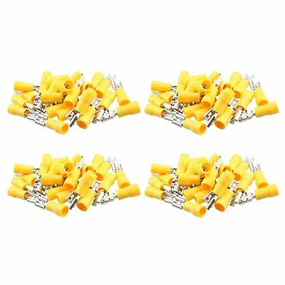 5mm Female Yellow Electrical Cable Wire Spade Terminals Crimp Connector 100pc