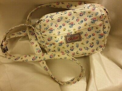 Cath Kidston Cath Kids small white floral shoulder bag. long strap with buckle.
