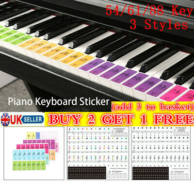 Piano Stave Stickers 54/61/88 Key Electronic Keyboard Sticker For White Keys