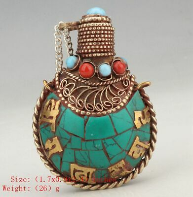 Antique Chinese Tibet Silver Snuff Bottle Pendant Inlaid Turquoise Mascot Gift