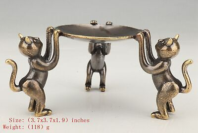 Unique Chinese Brass Statue Candlestick Animal Cat Mascot Decoration Gift