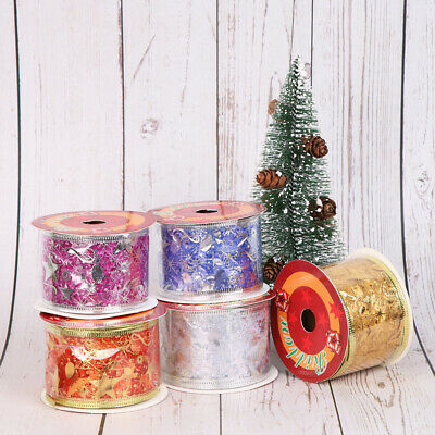 10Yards Bronzing Silver Glitter Ribbon Christmas Wired Edge Gift Wrapping Decor