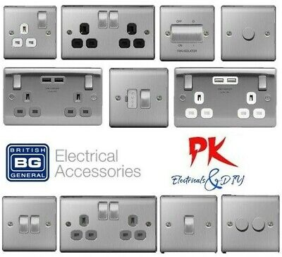 BG Nexus Brushed Steel Sockets & Switches + USB / Black / Grey / White Inserts