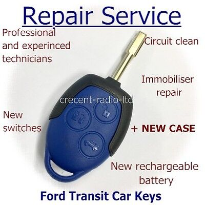 Blue Ford Transit Connect MK7 3 button remote key fob REPAIR SERVICE + New Case