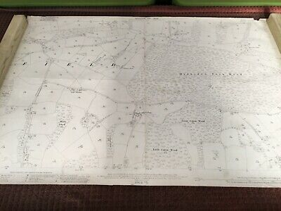 Large Old original 1909 Antique Map of Uckfield area Sussex
