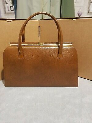 Vintage Sable Calf Brown Hard Shell Handbag