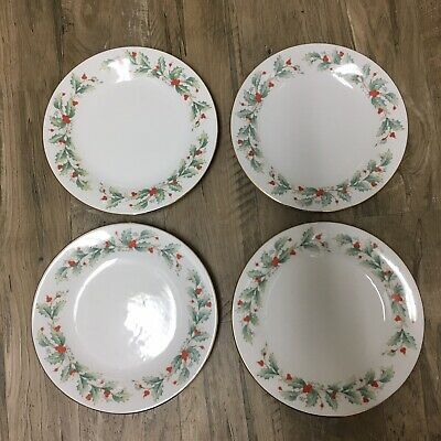 China Pearl Noel 8 Dessert Salad Plates Holly Berries Christmas Gold Rim Dishes
