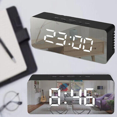 Alarm Clock Large Digital LED Displays Portable Modern Battery Operated Mirror
