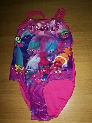 Girls swimming costume suit Trolls dreamworks Age 4 - 5 pink multi poppy