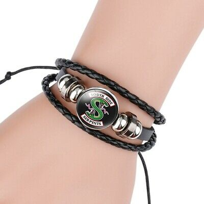 New Fashion Riverdale South Side Serpents Glass Domed Braided Leather Bracelet