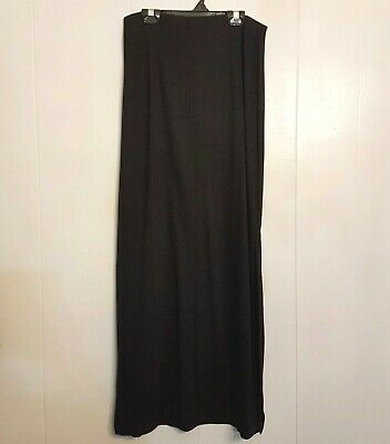 Moa Moa MAXI SKIRT size Large Long Black Column Stretch with Side Slits USA made