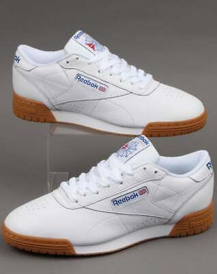 Reebok Exofit Lo Clean Trainers in White, Royal & Gum - leather classics