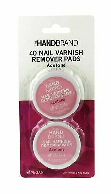 The HandBrand 40 Nail Varnish Remover Pads Twin Pack of 20 Pads (14641-160)