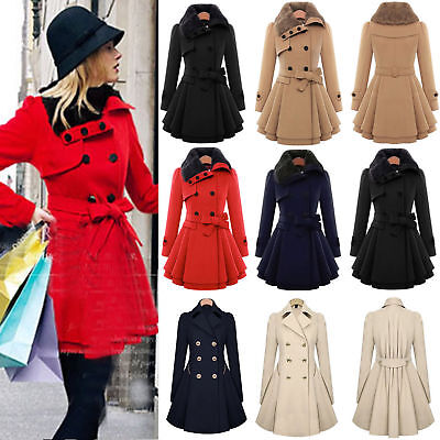 UK Womens Winter Office Pea Coat Trench Jacket Double Breasted Outwear Plus Size