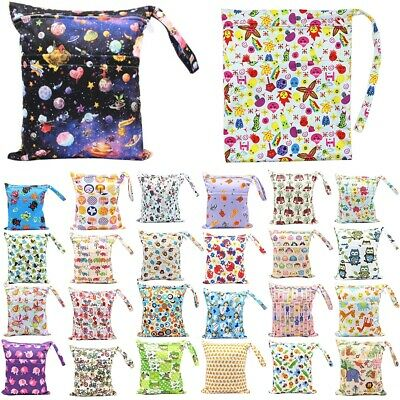 Wet Dry Bag Baby Cloth Diaper Waterproof Nappy Bag Two Zipper Reusable Pockets