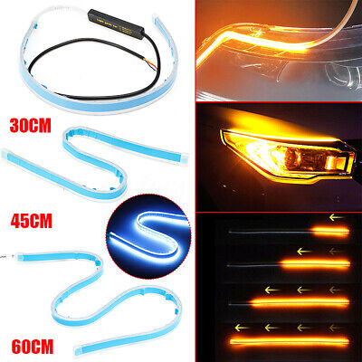 30/45/60cm LED Daytime Running Lamp Strip Light Sequential Flowing Turn