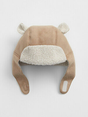 Baby Gap New Beige Faux Suede Sherling Lined Bear Trapper Hat 18-24 Months